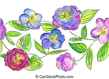 watercolors  lilac and blue flowerses on white background