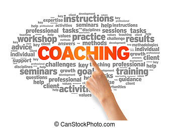 Coaching - Hand pointing at a Coaching Word Cloud on white...