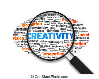 Creativity - Magnified illustration with the word Creativity...