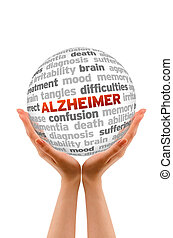 Alzheimer - Hands holding a Alzheimer Word Sphere sign on...