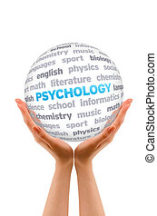 Psychology - Hands holding a Psychology Word Sphere sign on...