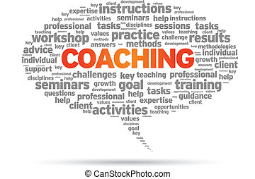 Coaching word speech bubble illustration on white...