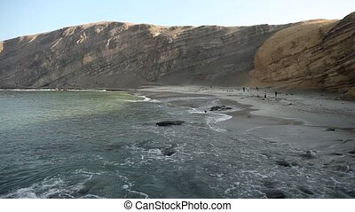 Ocean, Paracas, Peru - video footage of a coastline in the...
