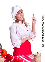 Attractive cook woman a over white background - portrait of...