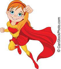Super  Girl - Illustration of Super Hero Girl in the fly