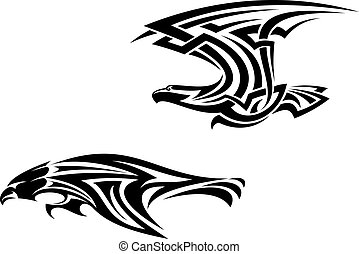 Tribal birds tattoos and mascots - Two birds mascots in...