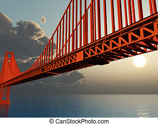 Golden Gate Bridge Illustration - Golden Gate Bridge 3D...