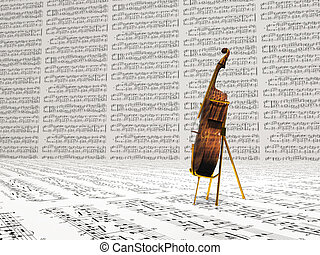 Cello and music notation background
