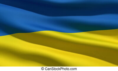 Ukrainian flag, 3d animation perfect seamless loop