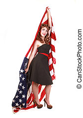 Pin Up Girl in Studio With American Flag - Pin Up Style Girl...