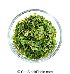 Chopped Fresh Mint Leaves in Glass Bowl