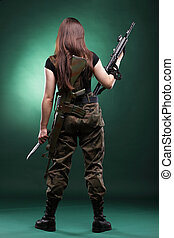 Army Woman With Gun - Beautiful woman with rifle plastic -...