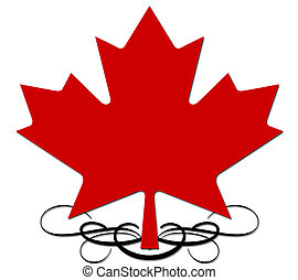Maple leaf with decorative element - A red on white maple...