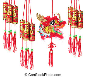 Chinese New Year Decorations on White Background