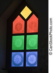 Multi-hued Glass Panes - Yellow, red, green, blue glass...