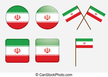 badges with flag of Iran