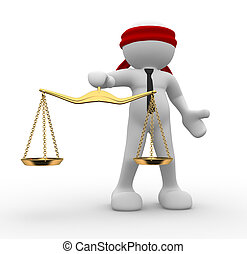 Justice scale - 3d people - man, person blindfolded with a...