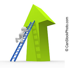 Stairs - 3d people - man, person climbs up the stairs on the...