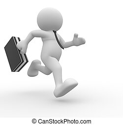 Businessman - 3d people - man, person running with a...