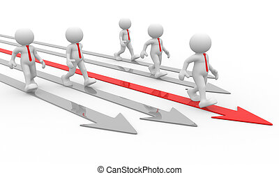 Businessmen - 3d people - men , person and arrows. Different