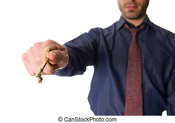 Golden Key - real estate agent with a golden key for client