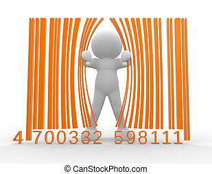 Barcode - 3d people - man, person and barcode. Bar-code