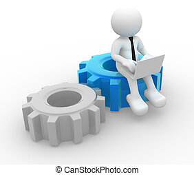 Gear mechanism - 3d people - man , person with a laptop and...