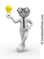 Light bulb - 3d people - man, person with light bulb