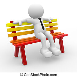 Bench - 3d people - man, person sitting on the bench.