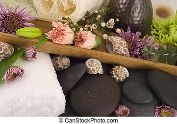 Massage Stones, Flowers, and Towel 5