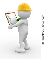 Builder - 3d people - man, person with clipboard and...