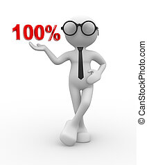 100% - 3d people - man, person with percent. 100%