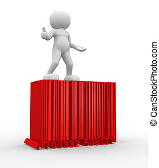 Barcode - 3d people - man , person with a bar code ( barcode...