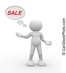 "Word ""Sale"".  - 3d people - man, person and word ""Sale""."