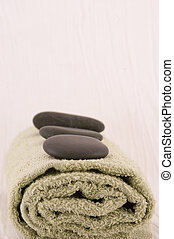 Massage Stones and Towel