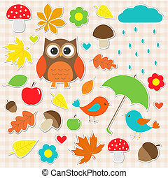 Vector set of autumnal stickers