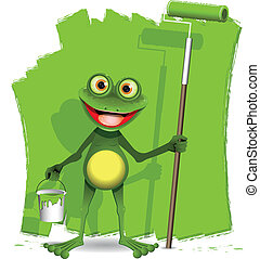 frog painter - green frog with a roller to paint