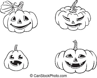 Funny Halloween Pumpkins - A set of pictures of smiling...