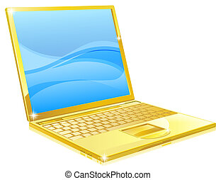Gold laptop computer - An illustration of a shiny golden...