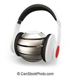 3d headphone with abstract sphere