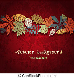 Red autumn vector background - Autumn leaf ornament on the...