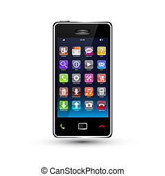 touchscreen smartphone with colorful application icons