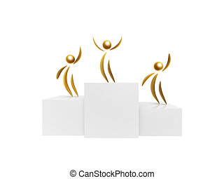 golden winner on podium top isolated on white background