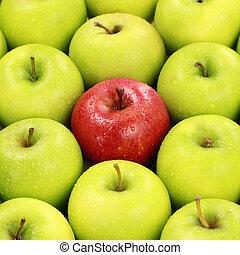 Solitário, vermelho, maçã