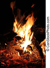 Bushveld Fire - Picture of Warm Flaming Bushveld Fire at...