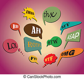 Colorful and most commonly used chat and online acronyms and...