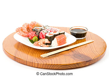 Traditional Japanese food Sushi  Sushi collection