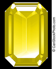 3d Citrine - A render of a 3d Citrine gem isolated on a...