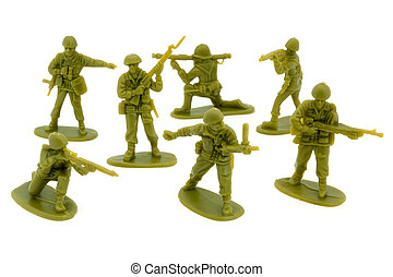 Group of plastic toy soldiers over white