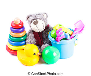 Toddlers toys isolated on the white background